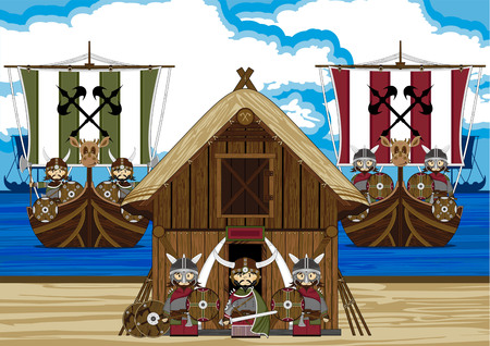Viking Warrior with Ship and Hut