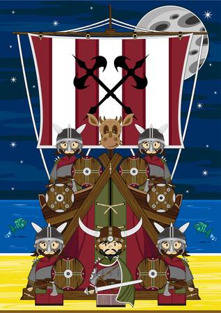 Viking Warrior and Ship Illustration