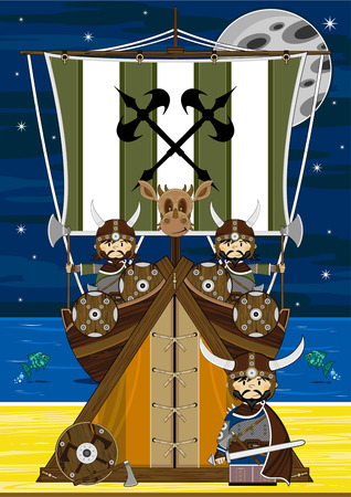 Viking Warriors with Longboat and Tent Illustration