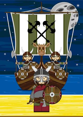 Viking Warriors and Longboat Illustration