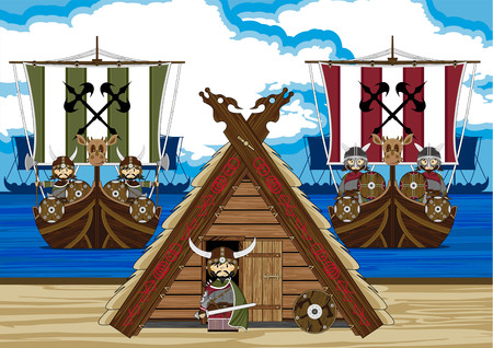 Viking Warriors with Ship and Tent Illustration