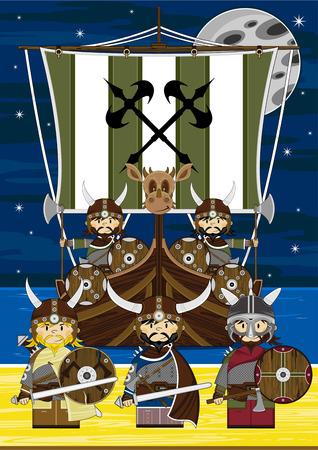 warriors: Viking Warriors and Longboat Illustration