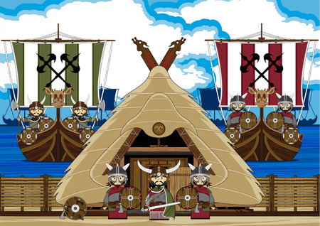 Viking Warriors with Ship and Hut