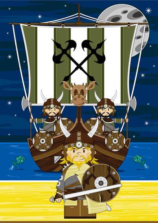 Viking Warriors on Longship Illustration