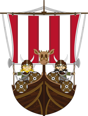 warriors: Viking Warriors on Longship Illustration