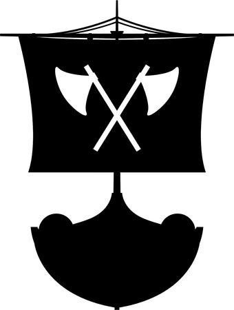 Viking-longboat in silhouet