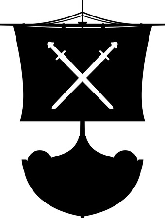 Viking-longboat in silhouet