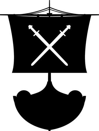 Viking Longboat in Silhouette Stock Vector - 82089628