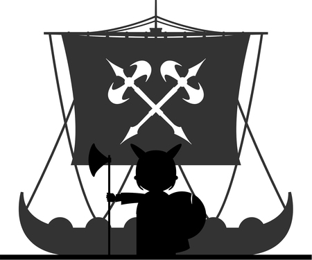 Norse Viking Warrior and Longboat Illustration
