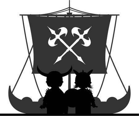 warriors: Norse Viking Warriors and Longboat