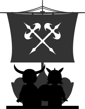 warriors: Norse Vikings Warriors and Longboat
