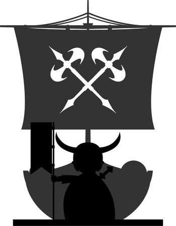 Norse Vikings Warriors and Longboat Stock Vector - 82089646