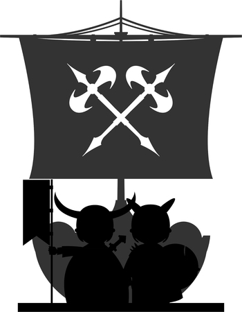 Norse Vikings Warriors and Longboat Stock Vector - 82089644