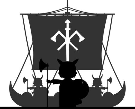 warriors: Norse Vikings Warriors on Longboat Illustration