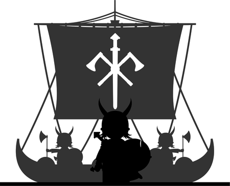 Norse Viking Warriors on Longboat Stock Vector - 82089655