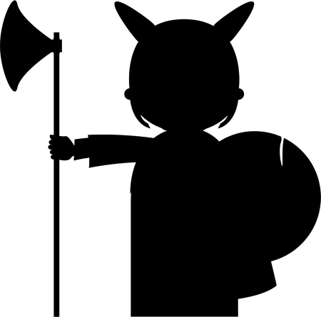 Norse Viking Warrior in Silhouette Illustration