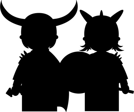 Norse Viking Warriors in Silhouette