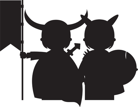 warriors: Norse Viking Warriors in Silhouette