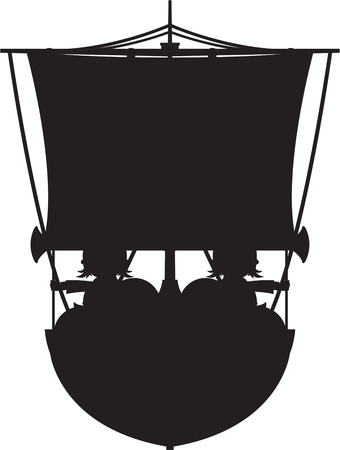 warriors: Norse Viking Warriors on Longboat Illustration