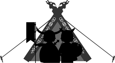 Norse Vikings and Tent Silhouette Illustration