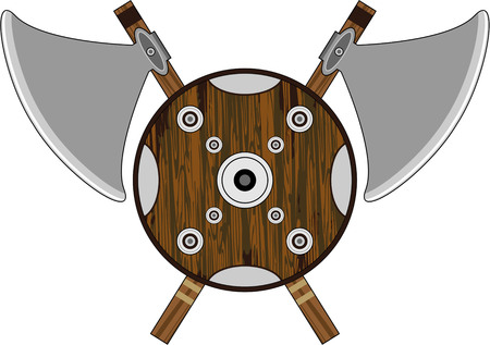 Viking Shield with Axes Illustration