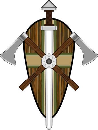 Vikingschild met zwaarden en bijlen