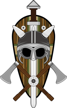 Viking Helmet with Swords and Axes