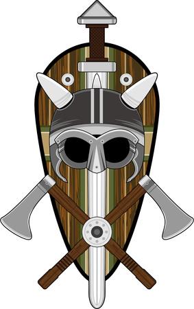 Viking Helm Met Zwaarden En Azen