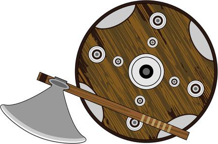 Viking ax and shield.