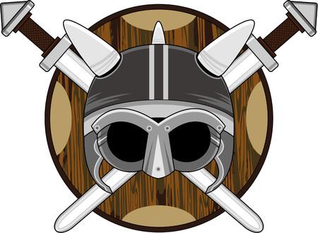 Viking-helm met zwaarden en schild. Stock Illustratie