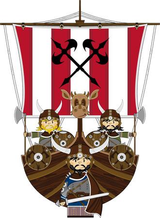 warriors: Norse Viking Warriors and Longship Illustration