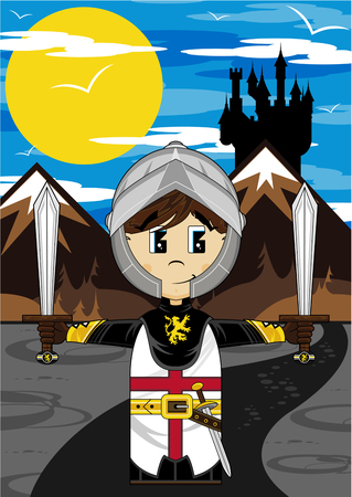 Cute Medieval Crusader Knight Illustration