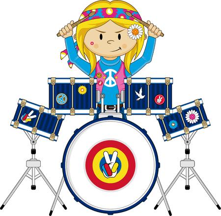 Cartoon Hippie Girl Playing Drums Illustration