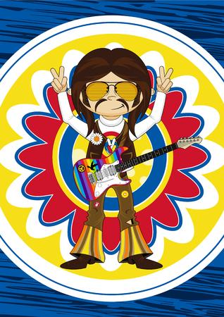 Flower Power Hippie Boy Guitarist.