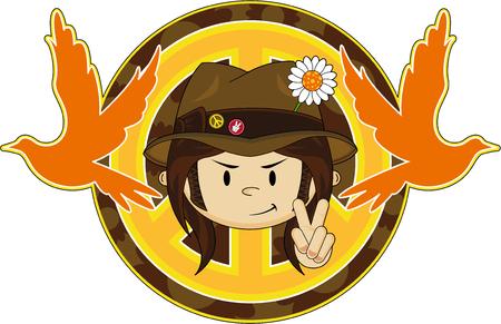 Flower Power Hippie Guy in Hat