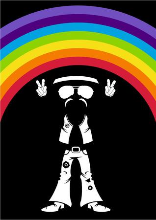 Flower Power Hippie Rainbow Silhouette.