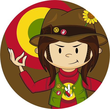 Flower Power Hippie Boy Illustration