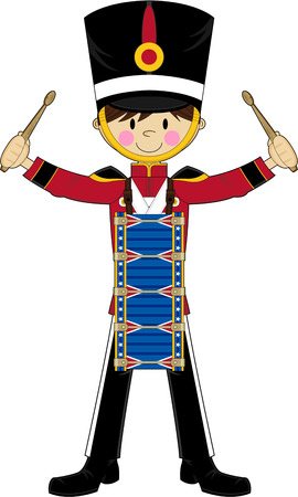 Cartoon Nutcracker Soldier Drumming
