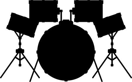 Drumkit in Silhouette Illustration