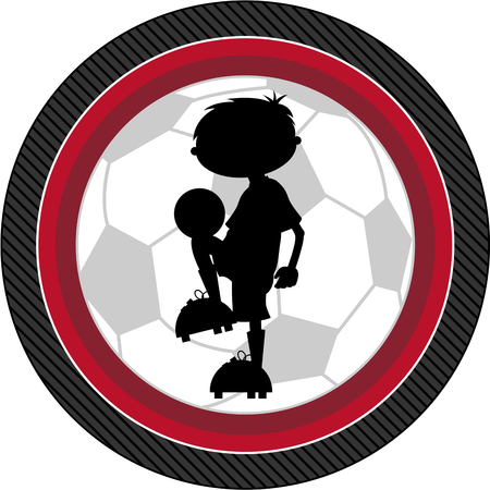 children silhouettes: Cartoon Soccer Football Player Silhouette Illustration