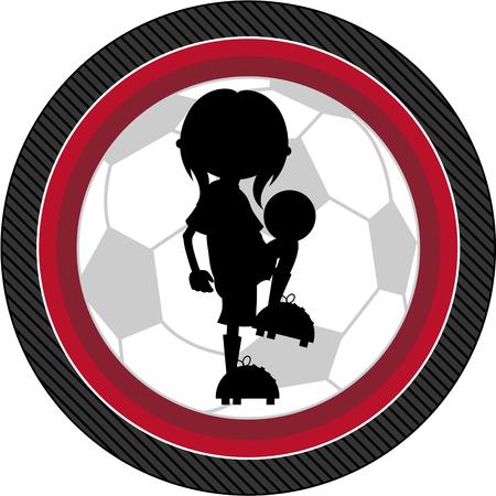 footy: Cartoon Soccer Football Player Silhouette Illustration