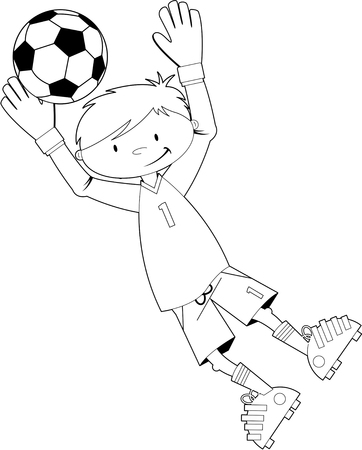 footy: Cute Cartoon Soccer Goalkeeper Illustration