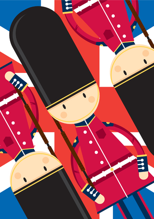 Cute Cartoon British Queen's Palace Guard Pattern