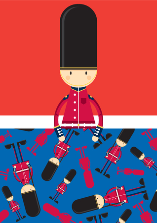 Cute Cartoon British Queen's Palace Guard Ilustrace