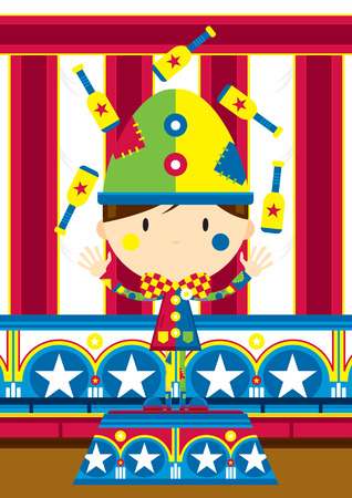 Cartoon Juggling Circus Clown Stock Illustratie