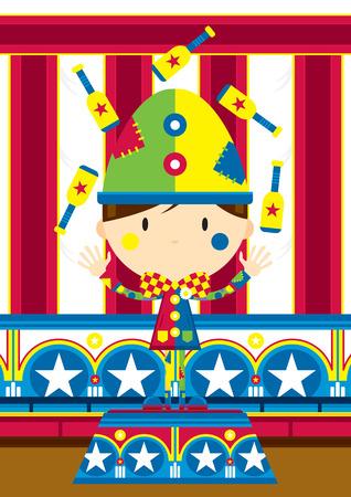 Cartoon Juggling Circus Clown Illustration