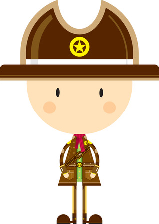 Cute Cartoon Cowboy Sheriff Illustration