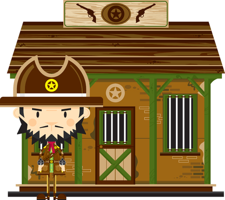 Cute Cartoon Cowboy Sheriff at Jailhouse