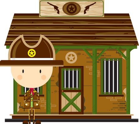 Cute Cartoon Cowboy Sheriff at Jailhouse