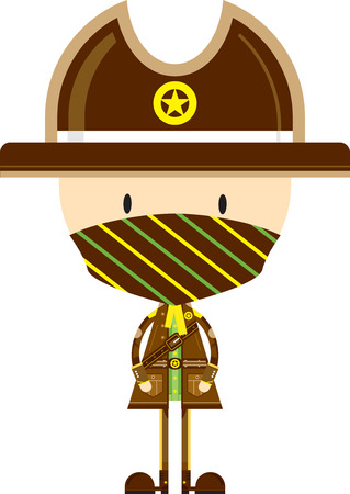 Cute Cartoon Cowboy Sheriff in Mask